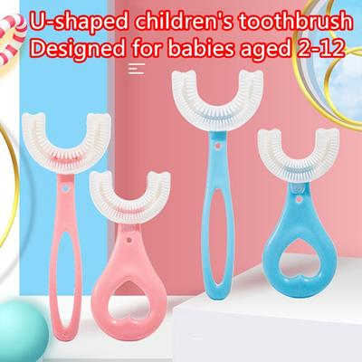 U-shaped Children's Toothbrush Silicone Toothbrush 2-12 Years Old Kids Oral Cleaning Toothbrush