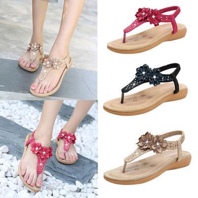 Women Sandals Fashion Bohemia Beade Ankle Strap Flower Summer Shoes