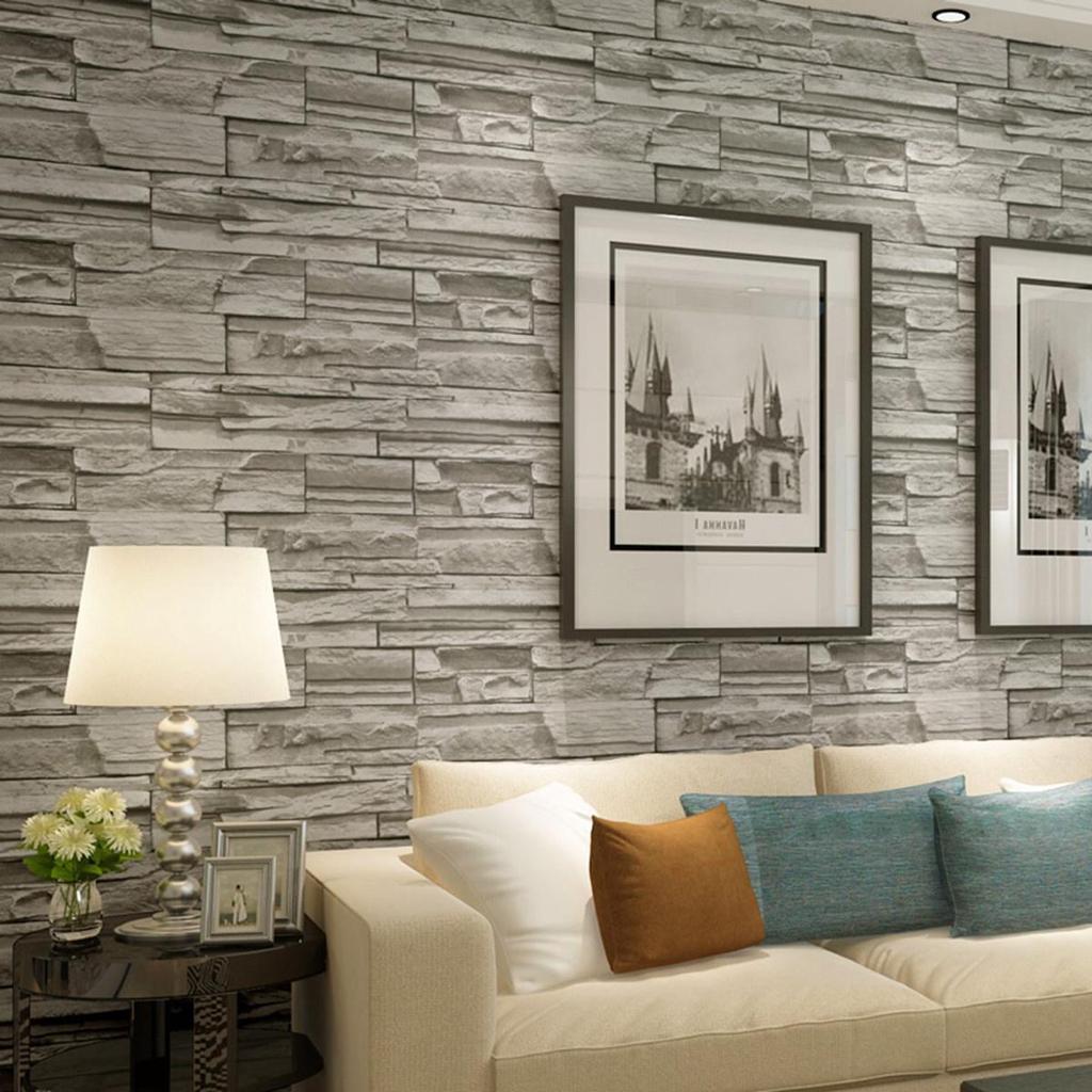 mode 3d wallpaper chambre living roll murale moderne fausse brique pierre fond autocollant de. Black Bedroom Furniture Sets. Home Design Ideas