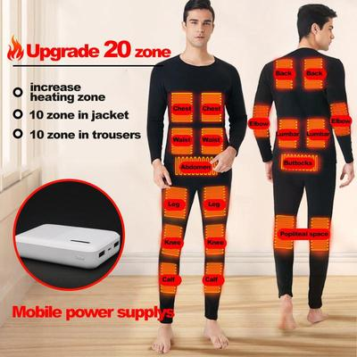 Men's Thermal Underwear USB Heating 20 Zones Can Be Controlled By Bluetooth
