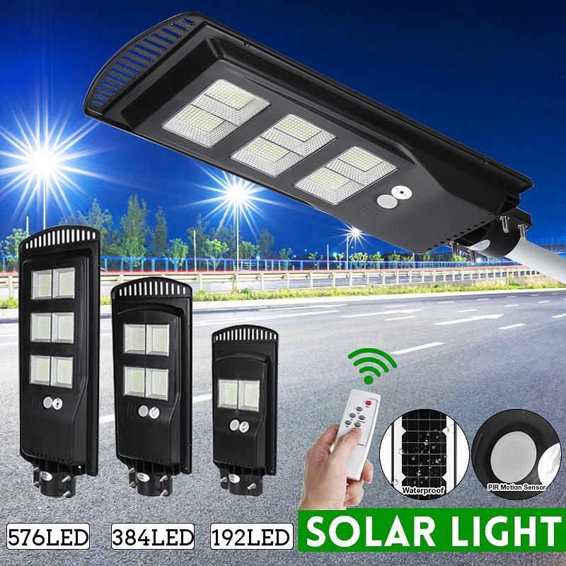 450W Solar LED Street Light Wall Lamp PIR Sensor Remote Control Lamp Waterproof