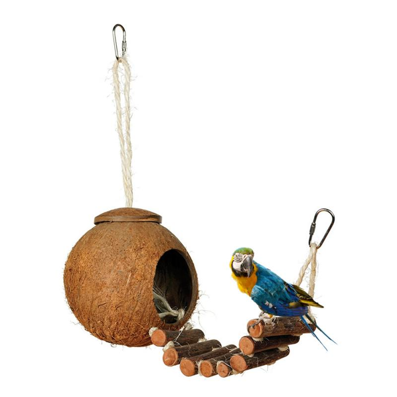 VOVOL Parrot Nest Natural Coconut Shell House Cage Feeder Parakeet Birds Squirrel Hamster Toys Pet Breed Decoration Supplies Pendant