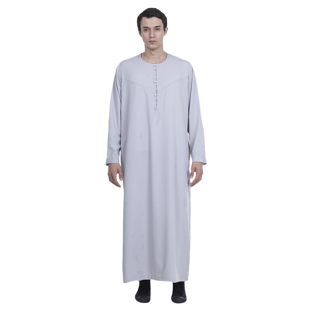 Mens Islamic Dubai Arab Abaya Kaftan Long Sleeve Saudi Jubba Prayer Thobe Robe