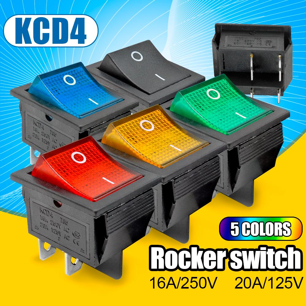 5PCS KCD4 Red Rocker Boat Switch 25*31MM DPST 4PIN Terminals ON//OFF 16A 250V