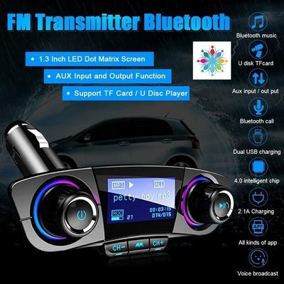 Car Bluetooth FM Transmitter Car Kit with 2.1A USB Ports Music Player Support TF Card//USB Flash Drive and AUX Input//Output Wireless Audio Receiver with Hands-Free Call and 1.3 LED Display GoGo Car C6083 Black