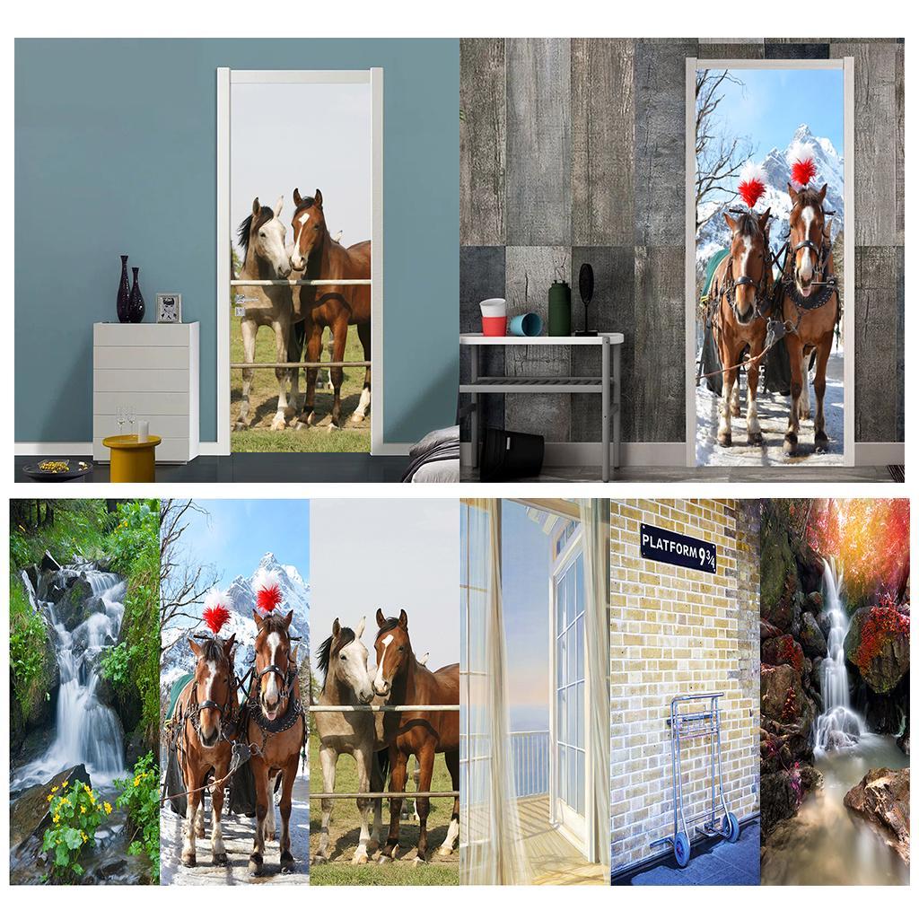 2pcs//set Waterproof 3D Self-Adhesive PVC Door Wall Fridge Sticker Wrap Mural