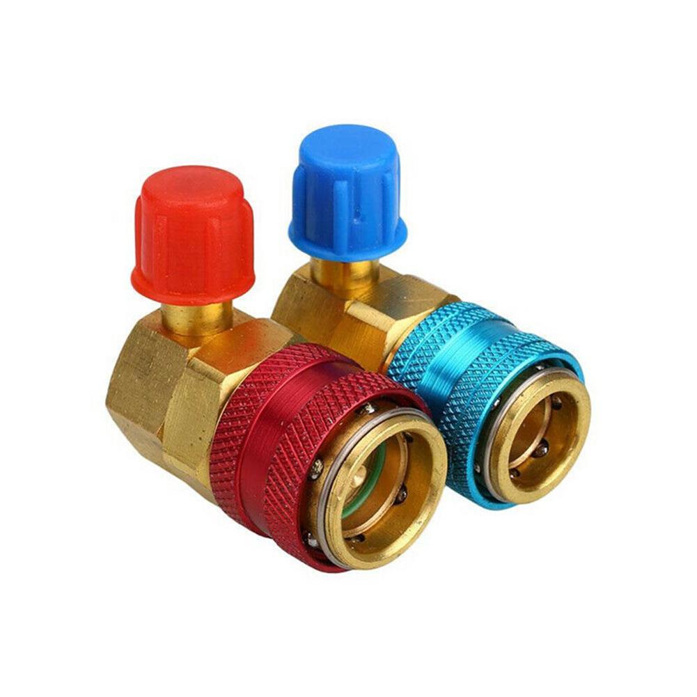 2pcs H//L Angle Quick Adapter ACME Car AC R134a A//C Manifold Gauge Conversion Kit