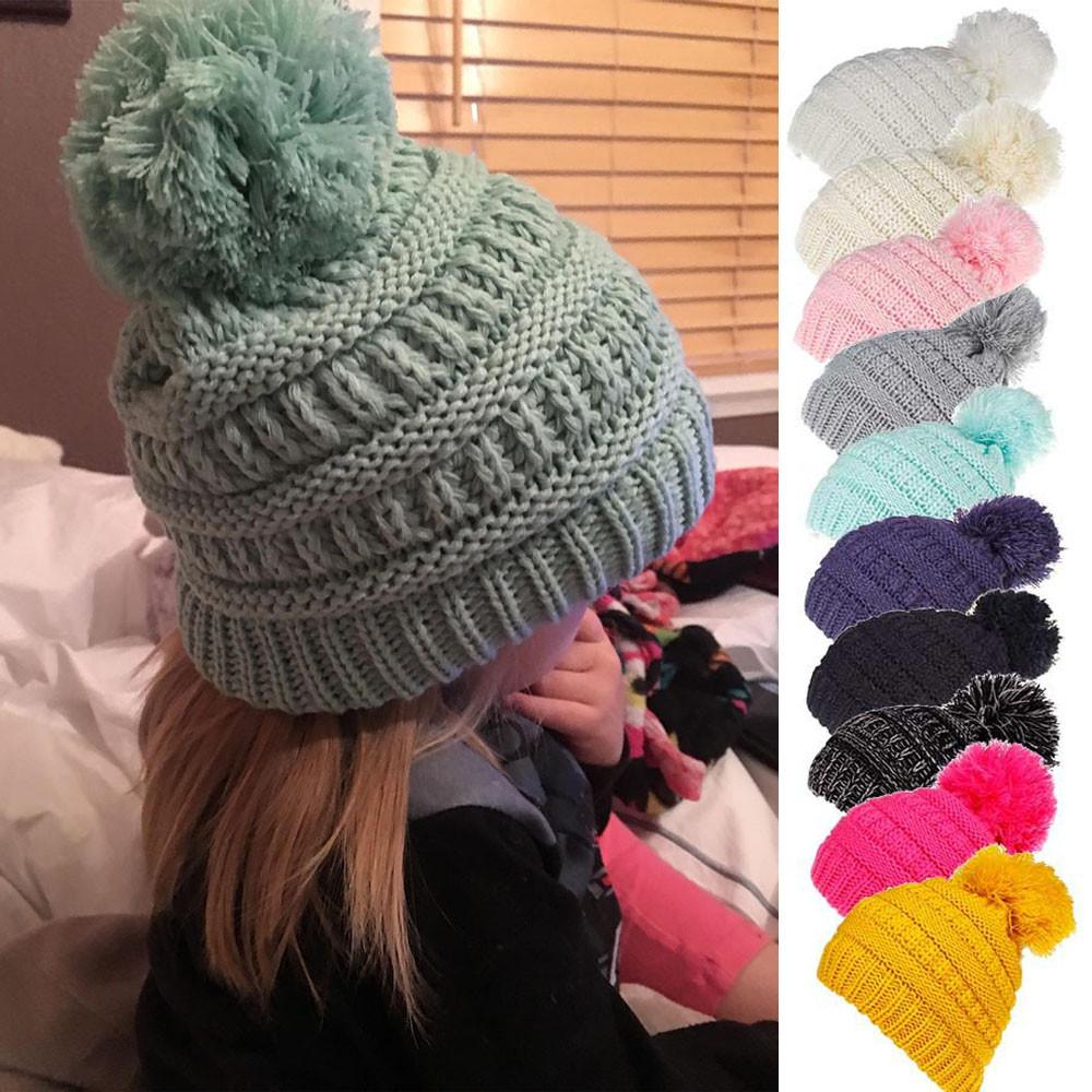 Toddler Baby Boys Girls Venonat Dot Knit Woolen Headgear Hat Baby Caps Hats for Girls Children Hat