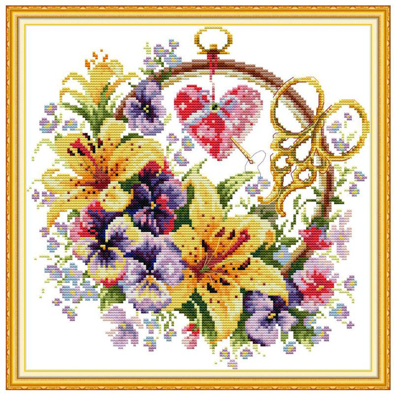 Stamped Cross Stitch Kits 14CT Pre-Printed Painting Cross Stiching DIY Art Crafts /& Sewing Needlepoints Kit for Home Decor Flowers Lighthouse