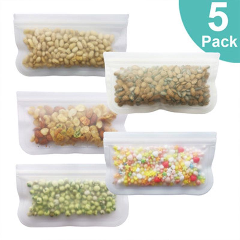 1 Pc Simple Design Silicone Reusable Food Storage Bags with Zip Organiser Faucet