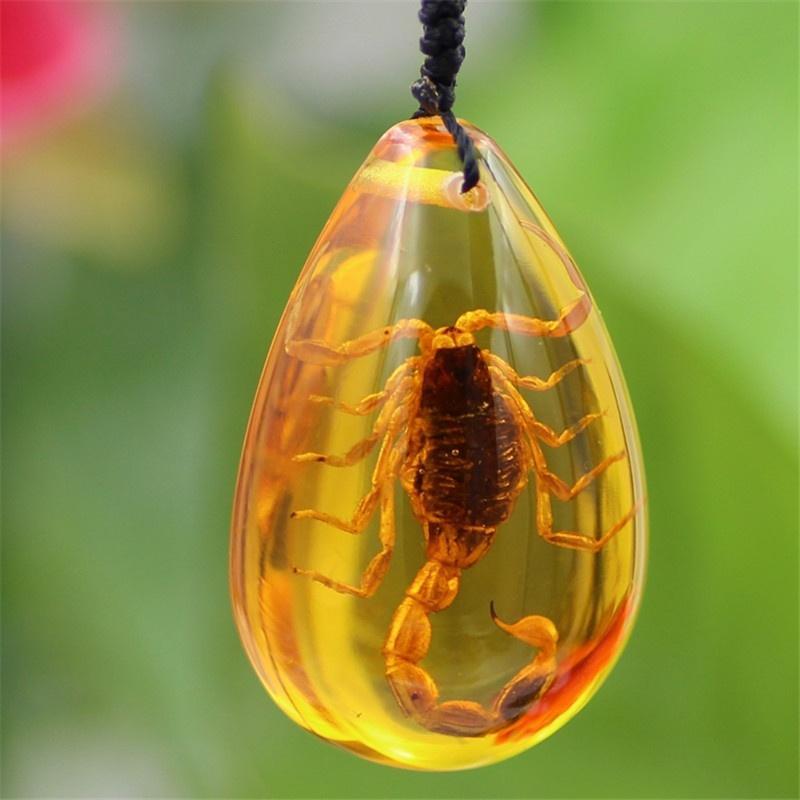 Насекомое камень природного Золотой Scorpions включение подлинной балтийского янтаря кулон ожерелье фото