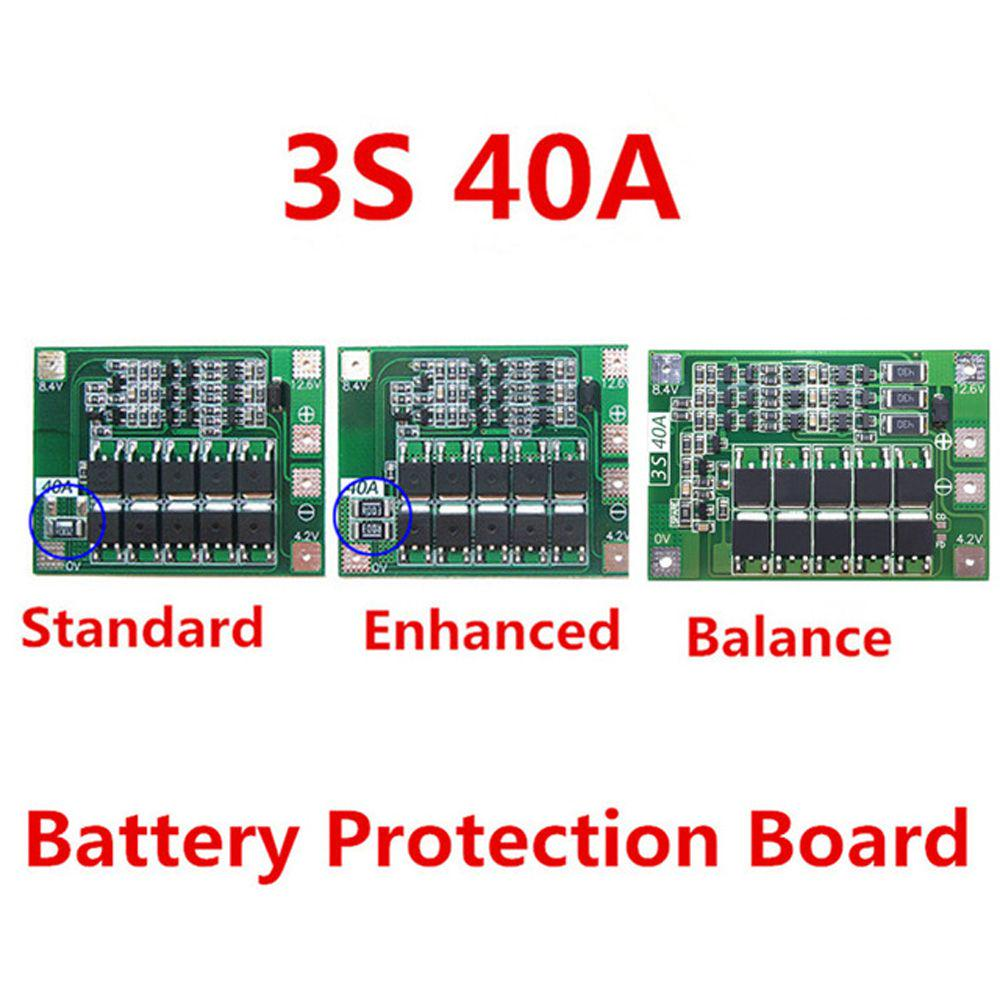 Battery Accessories 3s 40a 11.1v 12.6v 18650 Lithium Battery Protection Board Standard Enhanced Edition Standard