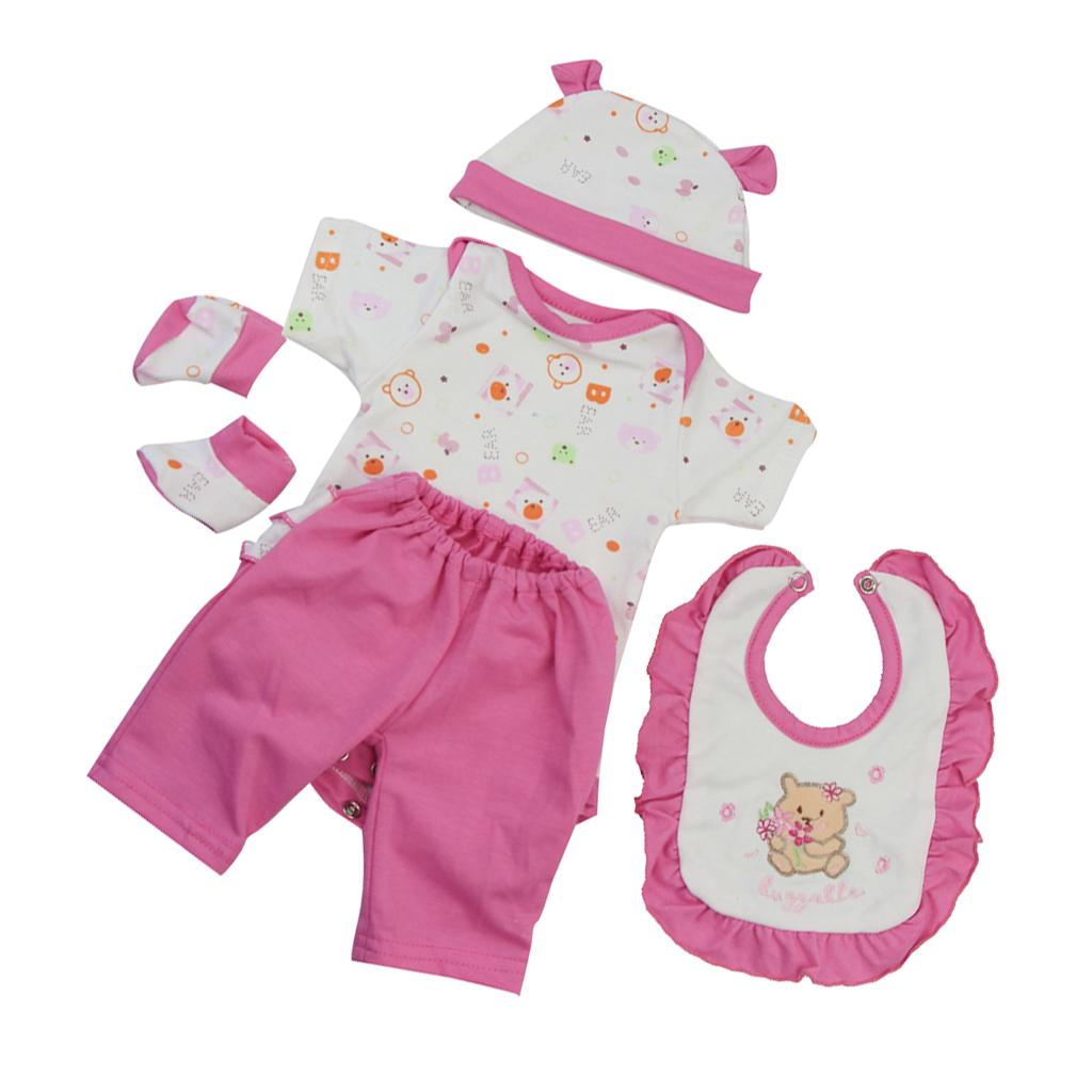 Lovely Clothes Romper Pants and Bib Set for 20-22/'/' Newborn Baby Dolls Accs