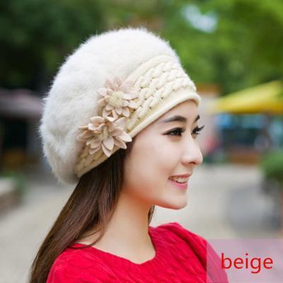 6fb4bbd7b6e Winter Elegance For Women Thickened Rabbit Fur Flower Shaped Beanies Hat  Beret