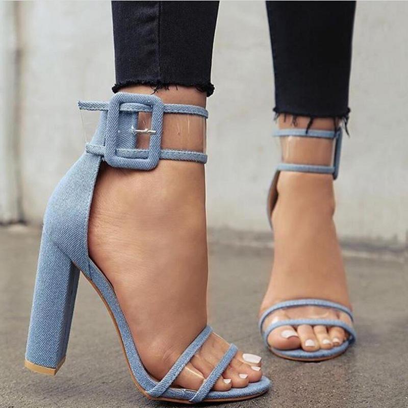 3111d07f5318 LALA IKAI Plus 10 11 12 Size Women Sandals 10cm HeelsTransparent ...