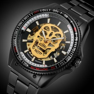 Black Skeleton Round Dial Analog Automatic Mechanical Watches Men Fashion Business Style Watch