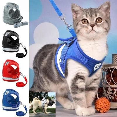 Dog Cat Harness and Leash Set Reflective Kitten Puppy Dogs Jacket Mesh Pet Clothes