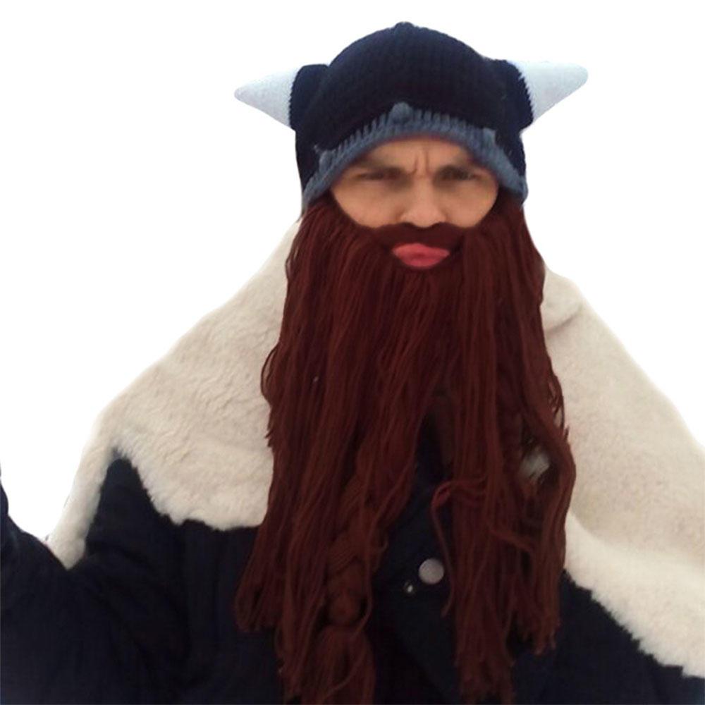 Hombres máscaras esquí loco gorro cuernos sombrero fresco Viking ... ddd1cf9a566