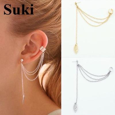Metallic Gold and Silver Jewelry Earrings Ear Clip 1piece Punk Rock Style Woman Young Gift Leaf Chain Tassel Earrings