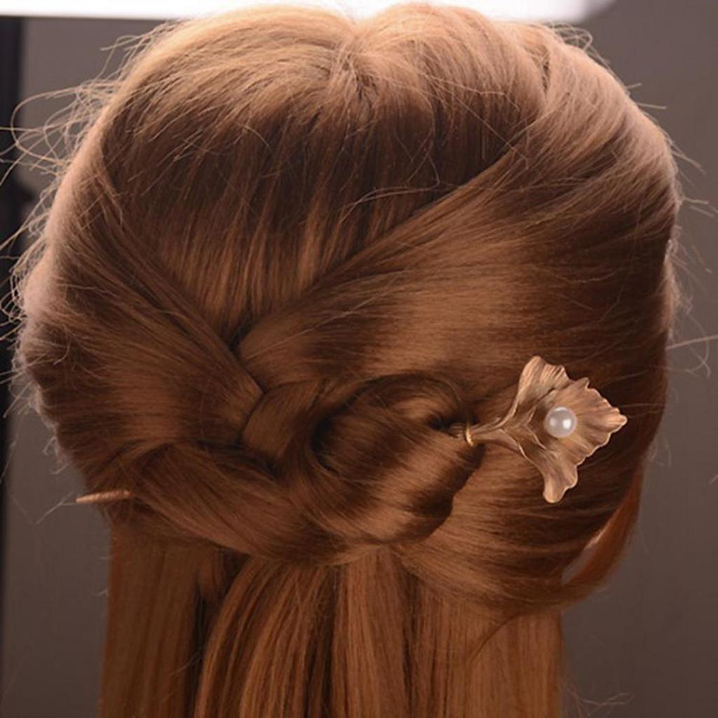 Fashion Women Golden Leaves Faux Pearl Beads Hairpin Hair Clip Hair Accessory