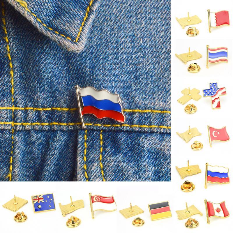 1Pcs Российские национальные флаги воротник Броучи значок кнопка Триколор Шляпа Сумка Одежда Ювелирные изделия Подарок фото
