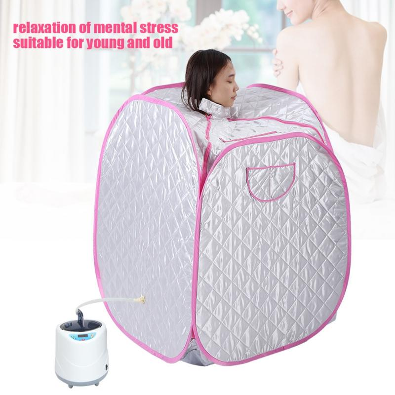 US Portable Sauna Tent 2L Portable Personal Full Body Spa Steam Home Sauna Home Tent Pot Machine Foldable Sauna Machine Indoor Slimming Weight Loss Therapy 9 Level to Control Temperature