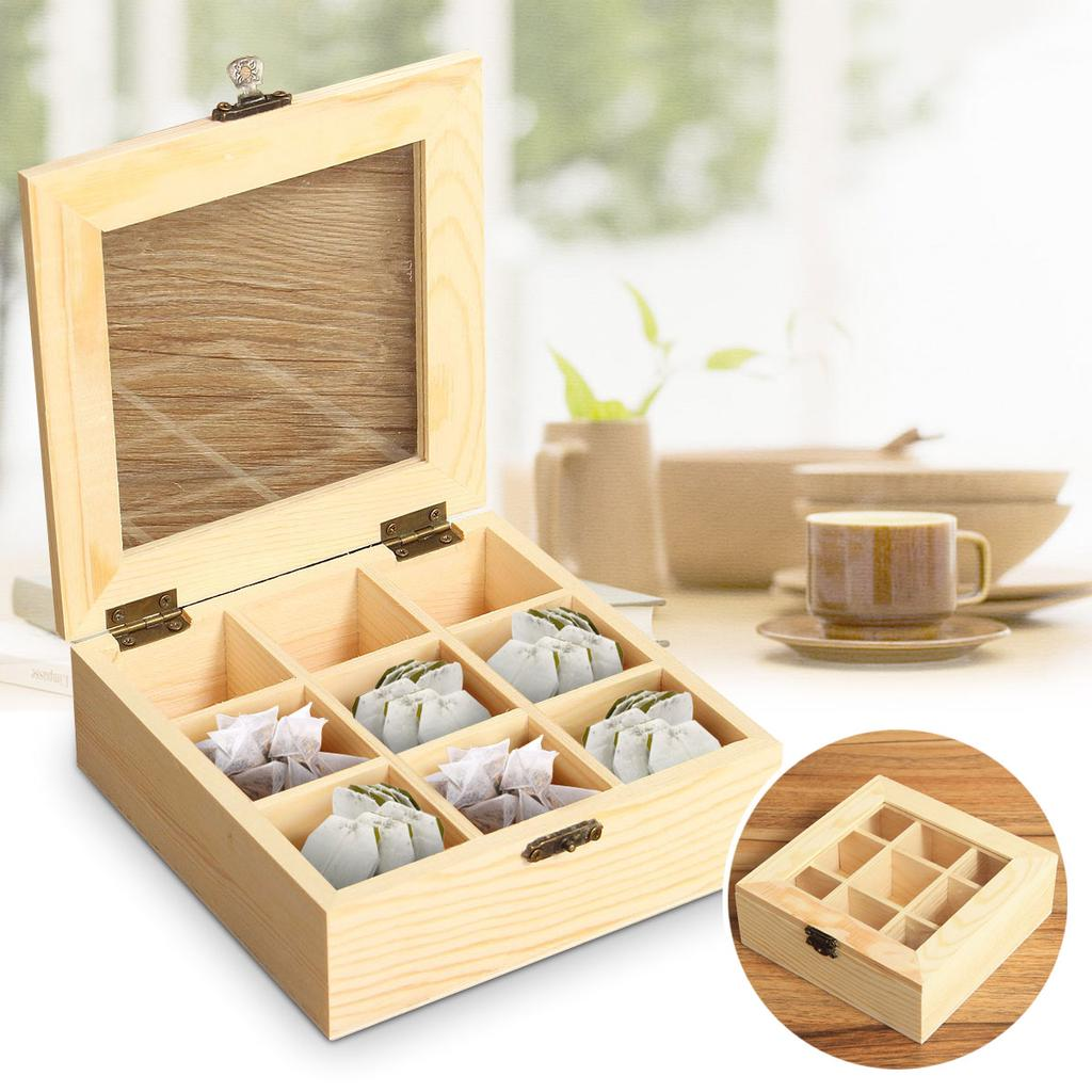 3 Compartments Wooden Tea Bag Storage Box Tea Caddy Organizer With Glass Lid