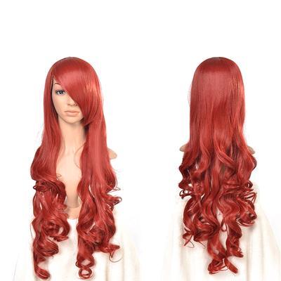 Anime wigs red + orange air volume High temperature silk wig cosplay 80CM 6087