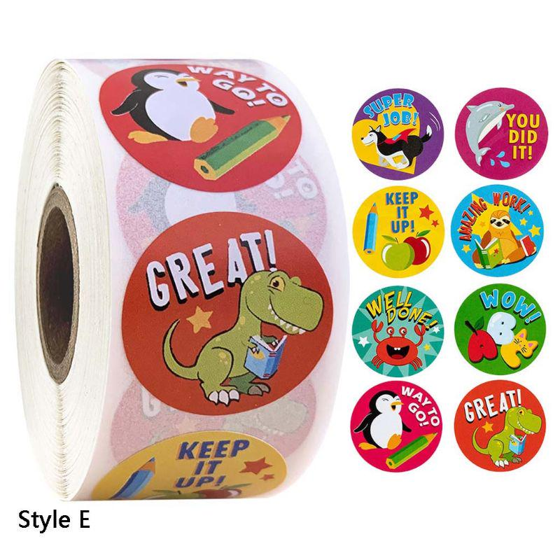 2 Rolls of Animal Round Paper Sticker for Kids Scrapbook Notebook Decoration