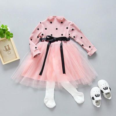 MOMKER Toddler Baby Kid Girls Stripe Rabbit Patchwork Skirt Princess Dresses Clothes