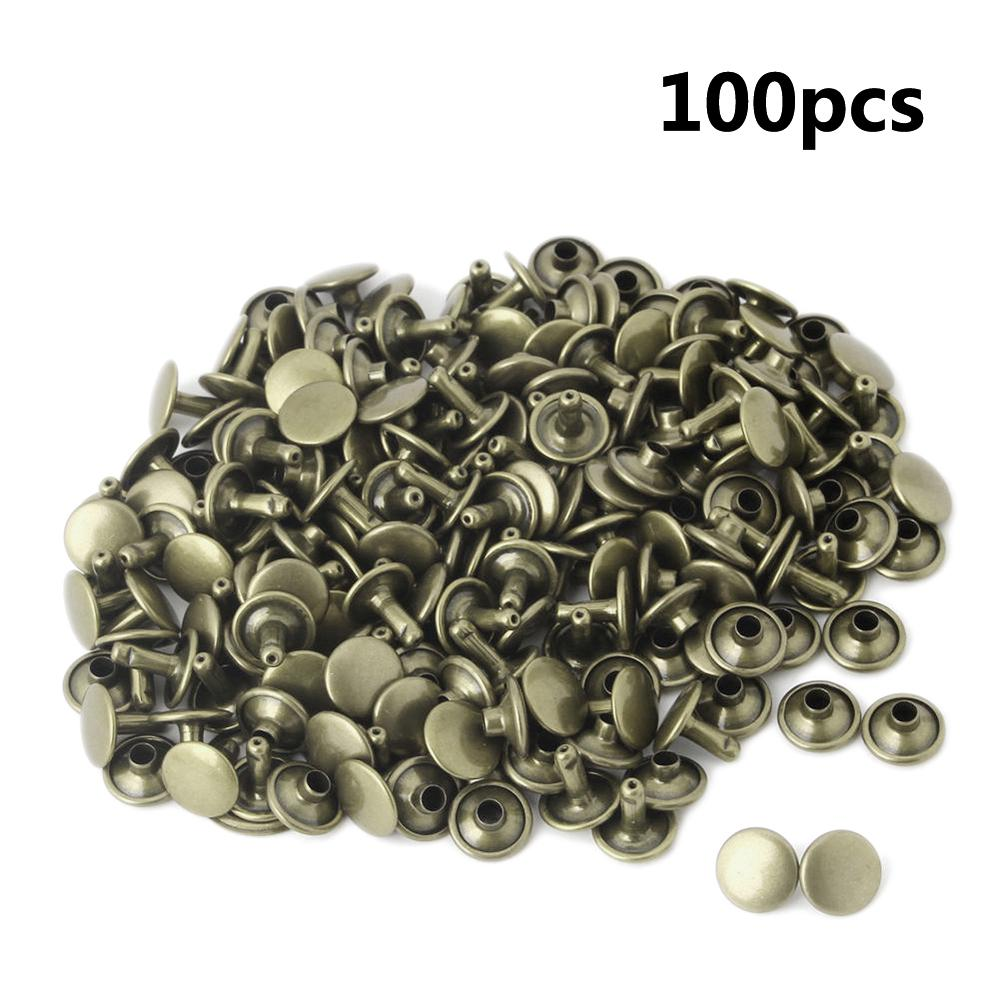 100Pcs Two Piece Double Sided Tubular Rivets Fastener Metal Round Head Stud