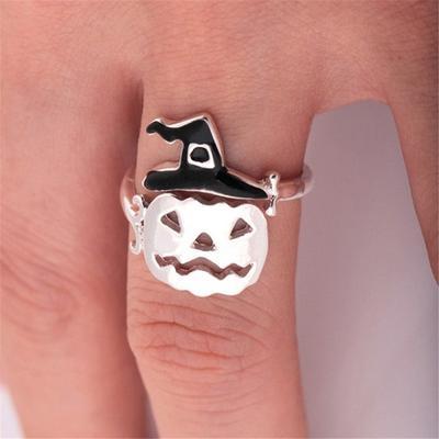 Mignon Halloween fantôme sorcière balai Doigt Anneau Ouvert Anneaux Parti cosplay bijoux