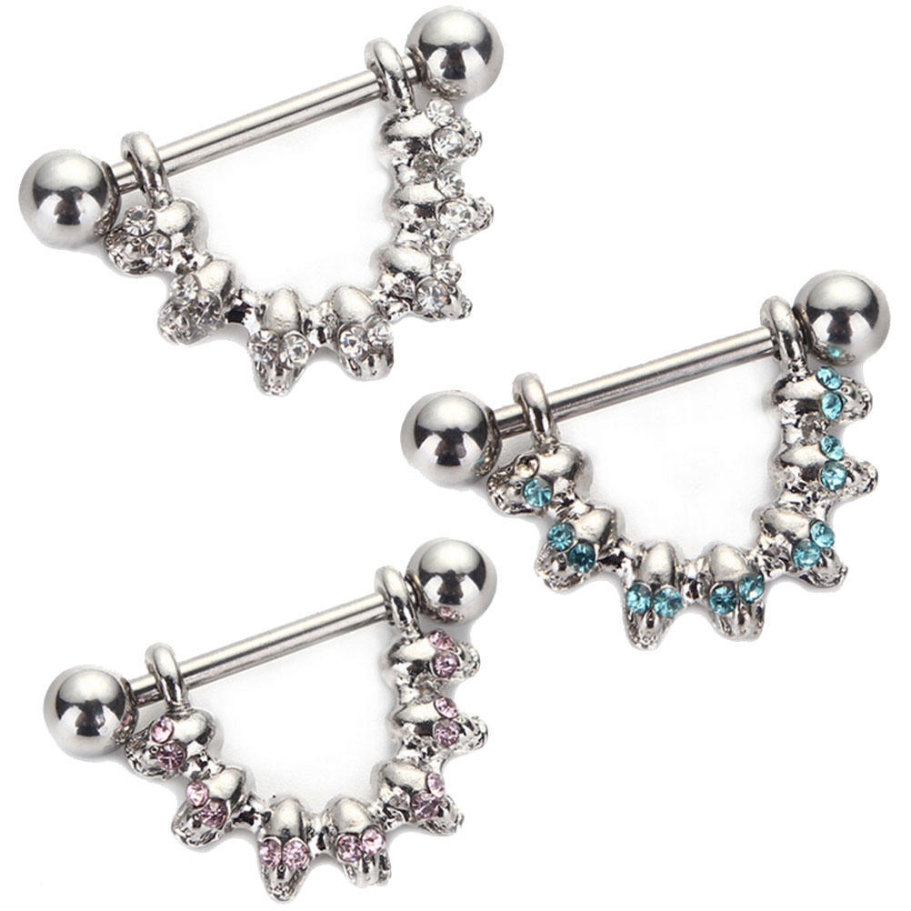Stainless Steel Nipple Shield Ring Mixed 7 Skulles Barbell Body ... aebf72d4e64e