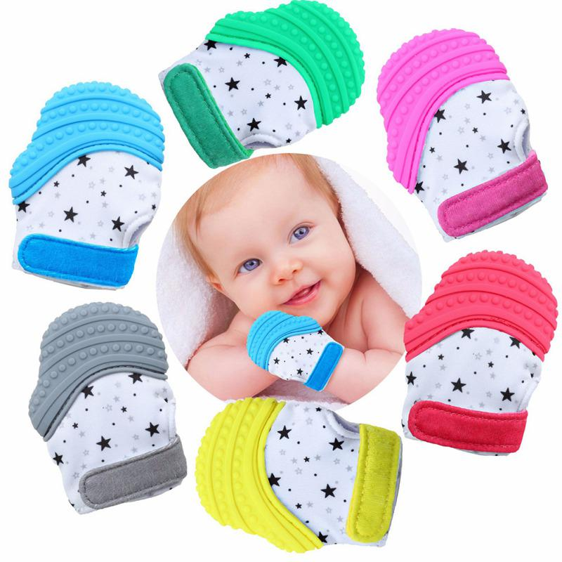 Safety Teether Molar Gloves For Baby Kid Eat Fingers Soft Gel Teething Mittens