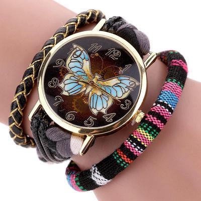 05e8703fc472 Retro cuero mujer reloj moda tejido mariposa moda pulsera de oro reloj  señoras reloj de pulsera