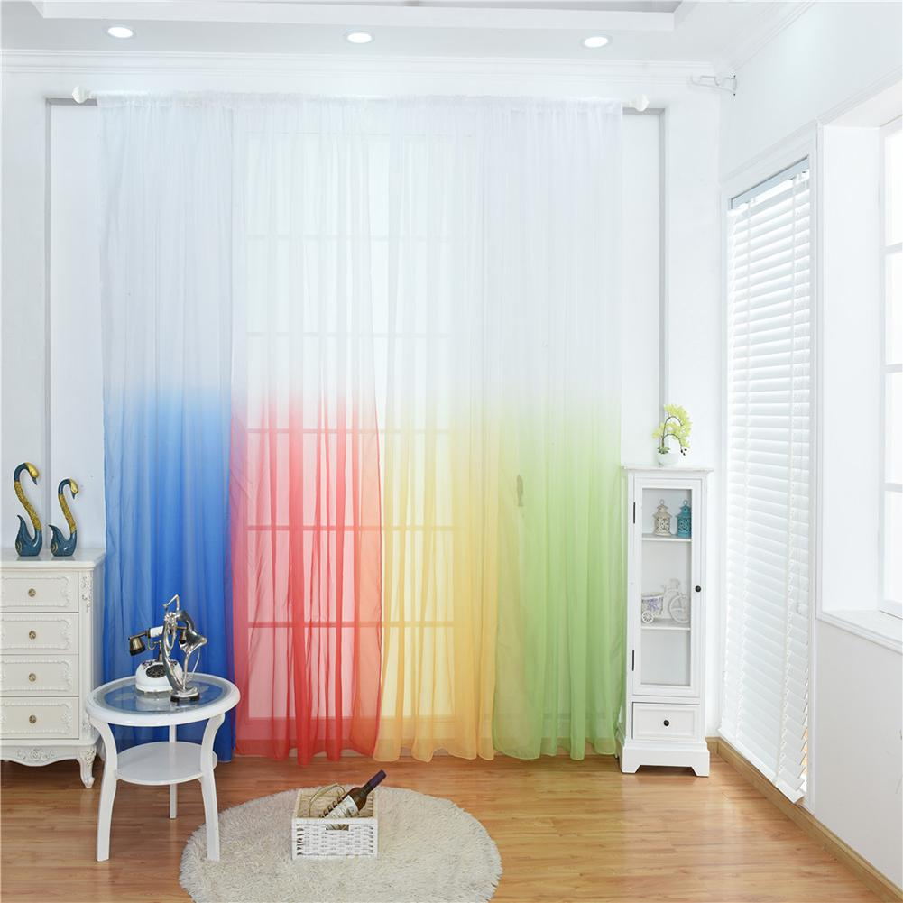 Gradients Semi Sheer Curtain Panels Living Room Divider Bedroom Kitchen Curtains