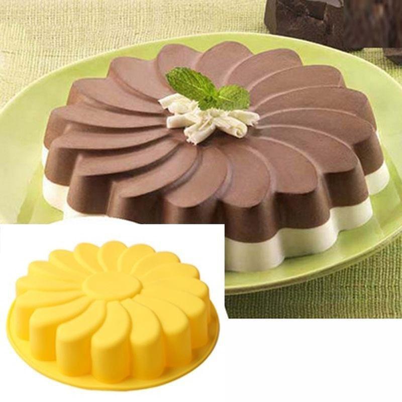 Torta del Molde del Silic/ón de la Torta para Hornear con el Molde Redondo Grande de la Hornada de la Forma del Girasol