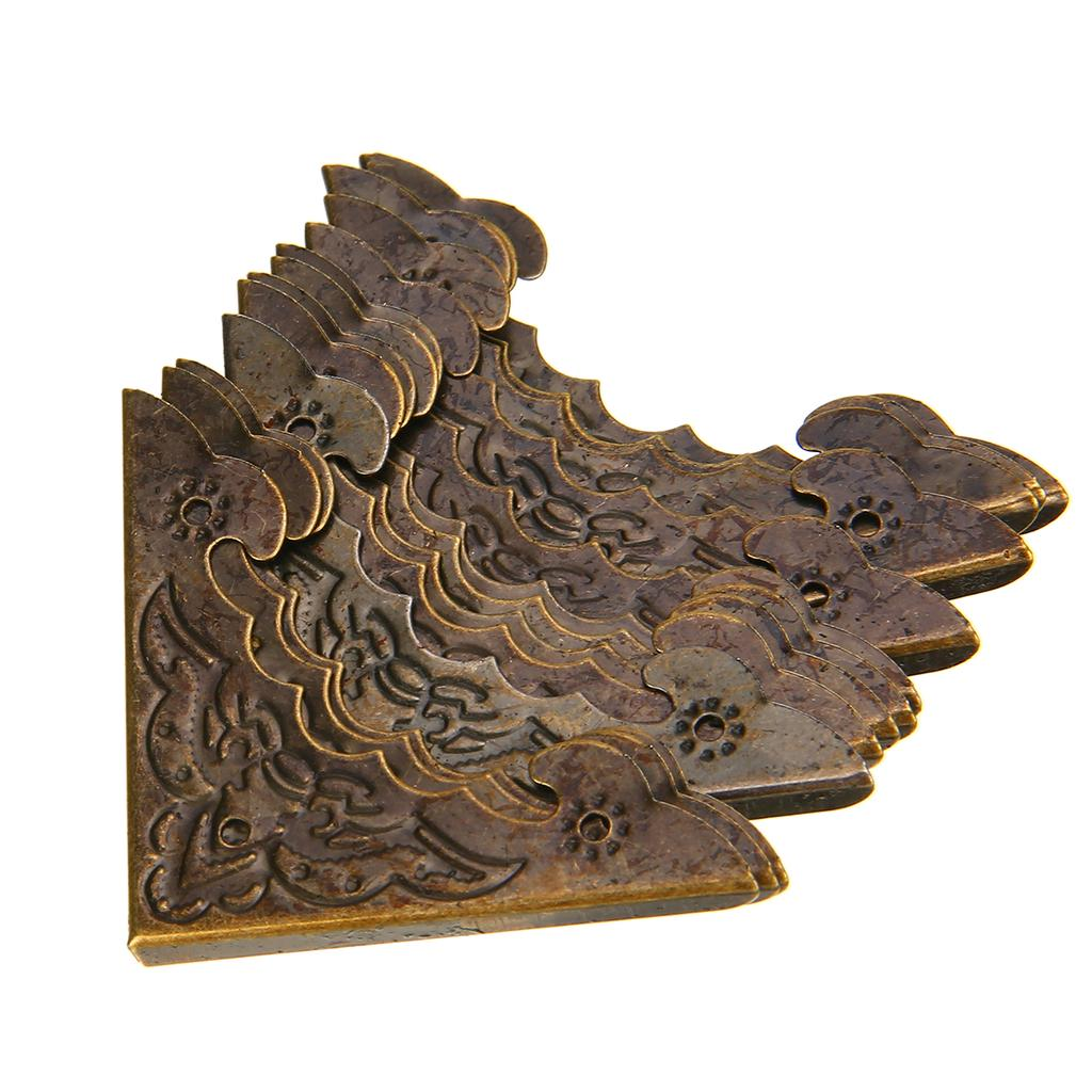 12Pcs Antique Wood Jewelry Box Decorative Picture Frame Corner Protector Guards