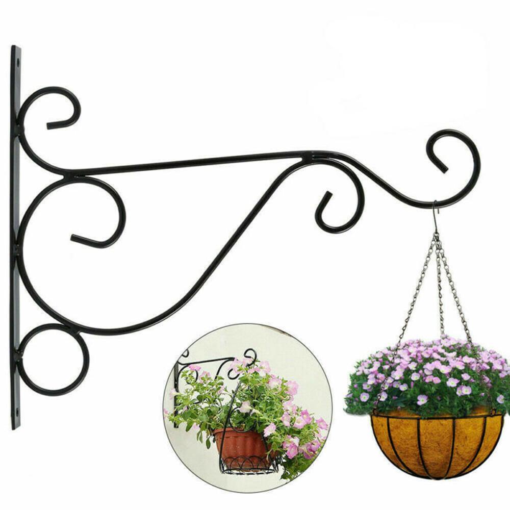 2pcs Hanging Wall Flower Pot Basket Bracket Garden Plant Hanger Hook Wall Decor