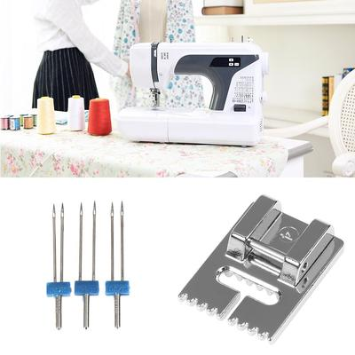 Double Needles Wrinkled Presser Foot DIY Sewing MachineFor Size 2//90 3//90 4//90