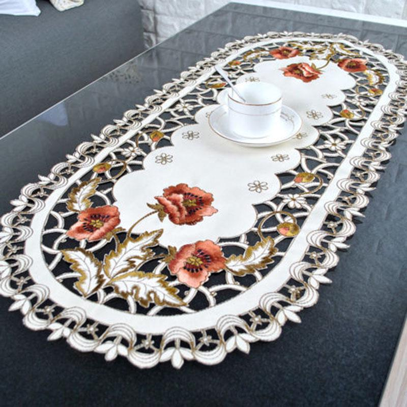 Oval Embroidered Table Cloth Cover Tablecloth Plastic Lace Home Kitchen Decor
