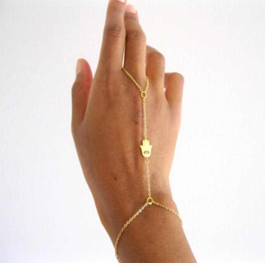 0514f42020b5 Pulsera Boho Hamsa Fatima mano encanto esclava pulsera dedo anillo cadena -  comprar a precios bajos en la tienda en línea Joom