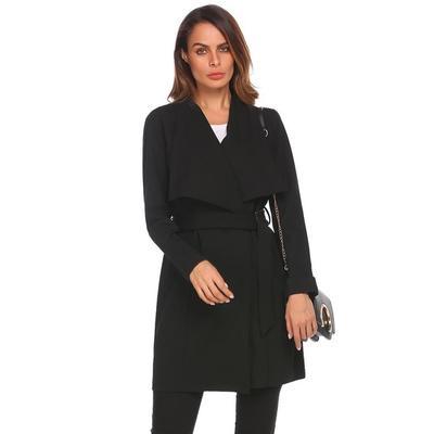 recomendado mujeres largo manga sólido abierto frente Rebeca Trench  chaqueta Casual 6b594a34d3a0