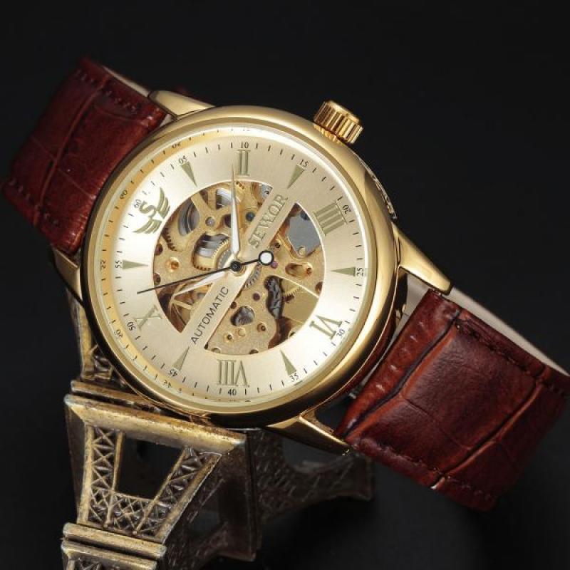 bfcc24df371 SEWOR automático de relógios mecânicos homens luxo couro esqueleto negócios  casuais relógio de pulso-comprar a preços baixos na loja virtual Joom