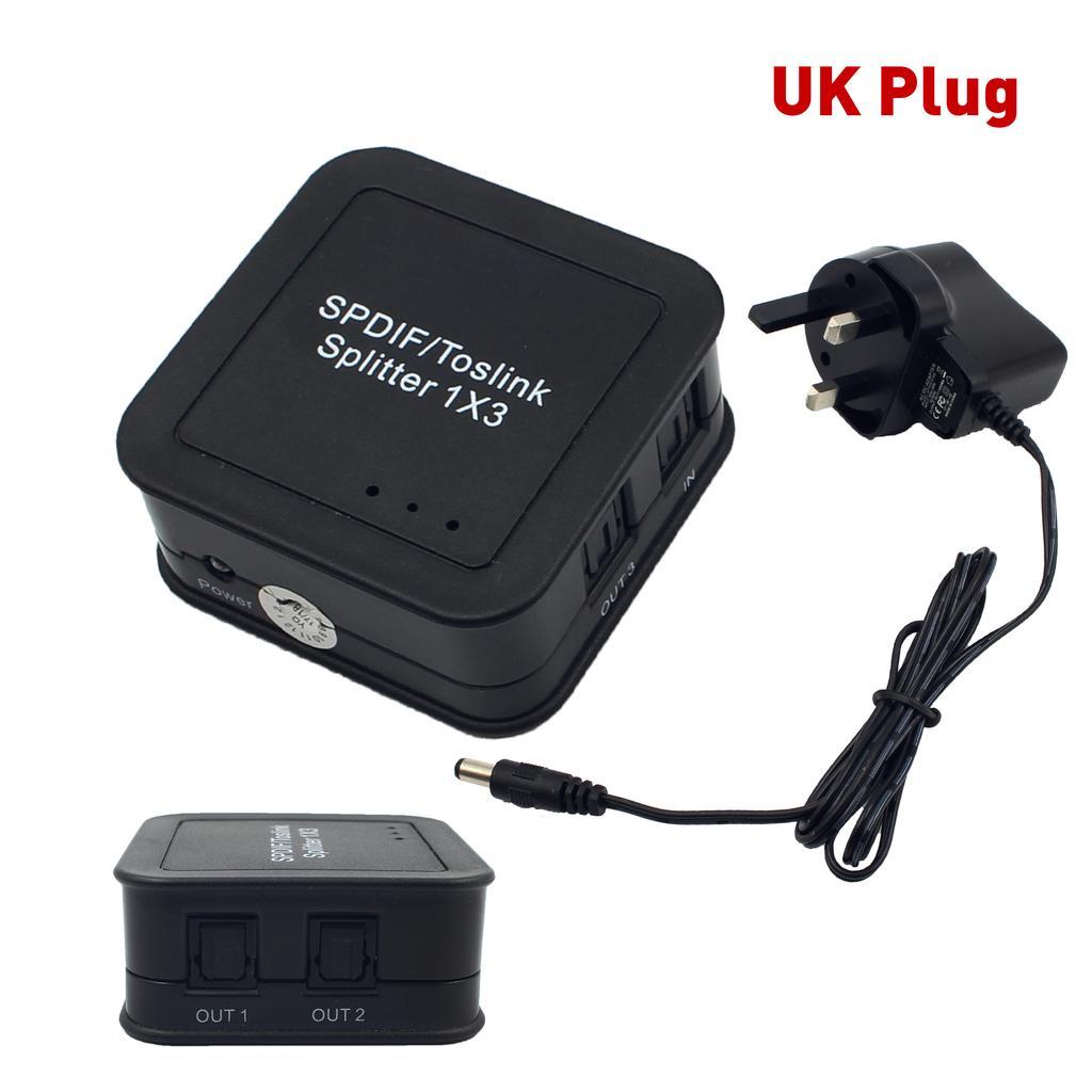 3 Port 1x3 SPDIF Toslink Digital Optical Audio Splitter with US Power Adapter