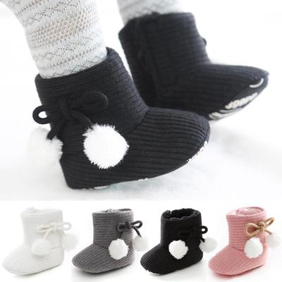 Newborn Baby Warm Anti-Skid Soft Sole Plush Ankle Snow Boots Crib Shoes