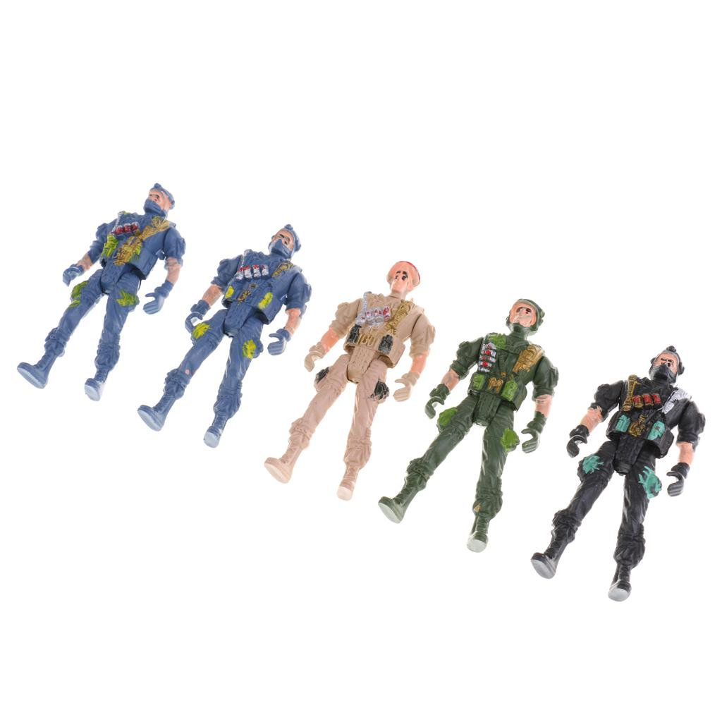 Pack of 5 9cm Plastic Paratroopers Action Figures Army Men Play Set