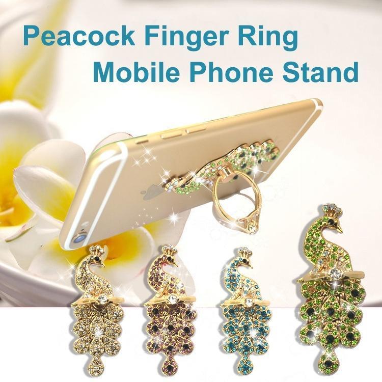Кристалл павлин форму 360 градусов поворот пальца кольцо стенд кронштейн пряжки держатель для сотовых телефонов