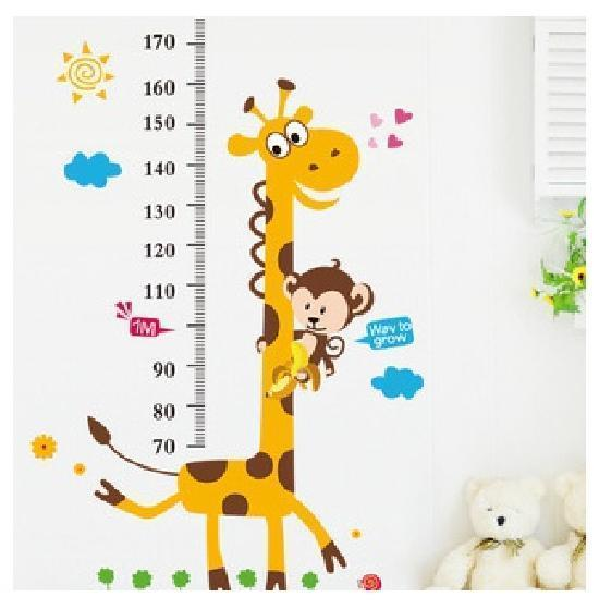 Kids Growth Chart Height Measure Giraffe Wall Stickers Buy At A Low