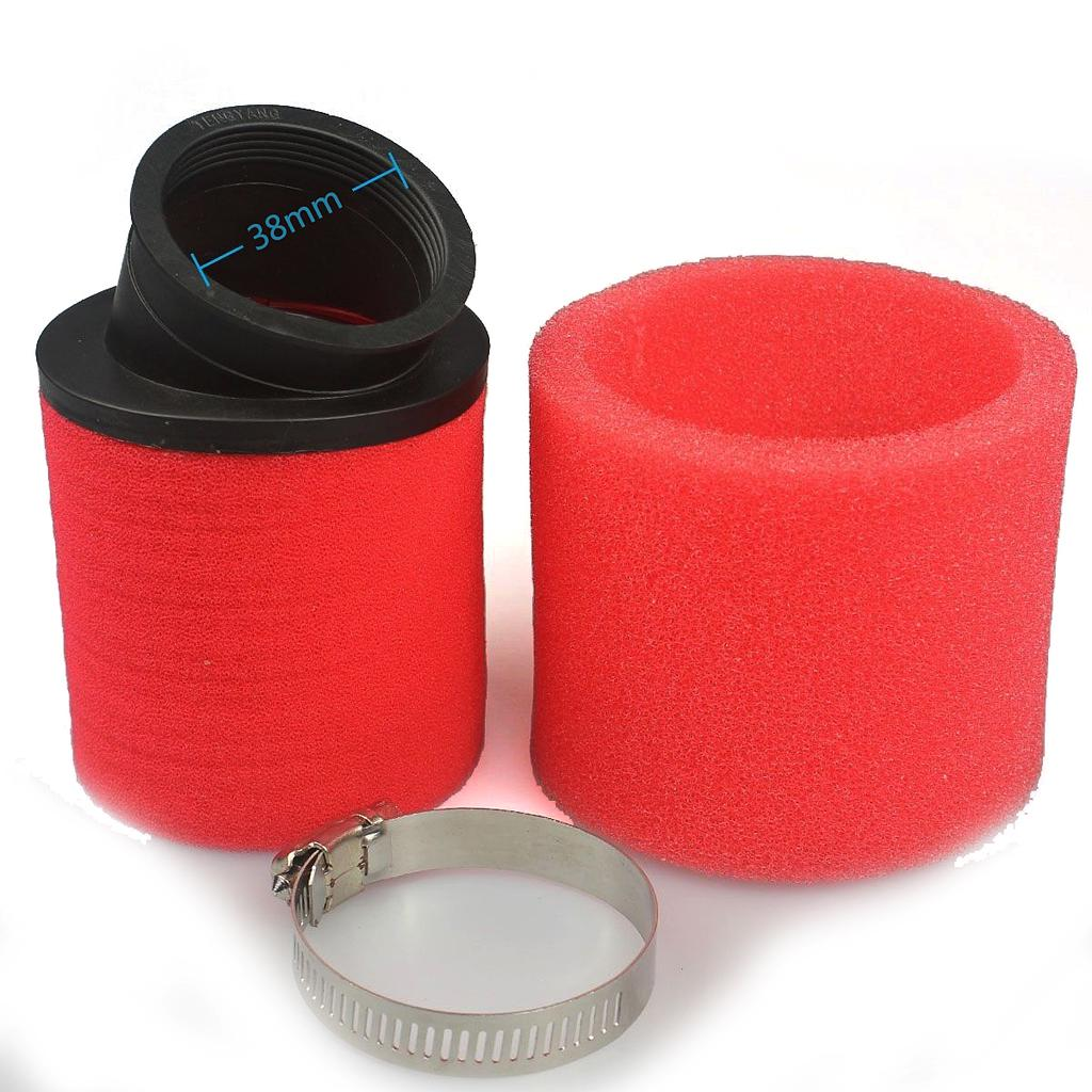 Red 38mm Bent Angled Foam Air Filter Pod 125cc Pit Quad Dirt Bike Atv Buggy Atv Parts & Accessories Automobiles & Motorcycles